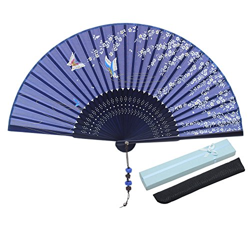 - Jsswb Flying Cherry Bloom Butterfly Painting Navy Ladies Satin Bamboo Fans with Cover Case