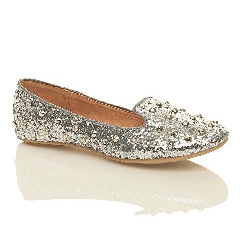 Damen Flach Kleine Absatz Ziernagel Stollen Mokassin Halbschuhe Ballerinas Größe Silber Glitter