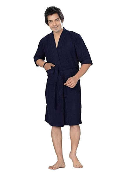 Elevanto Premium Collection 3/4Th Sleeve Terry Cotton Bathrobe-Free Size(Navy Blue-Men)