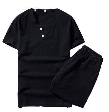 UUYUK-Men Cotton Linen Tang Suit Polo Shirts Bermuda Shorts Set Black US 2XL d7977803866
