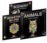 Highest quality adult coloring books on the market - set of 3 books: Animals, Scenery, and Geometric Shapes (Mandalas) Printed On The Thickest Paper Possible - So No Bleed Through! This adult coloring book set designed by artists at Creatively Calm S...