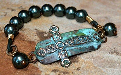 ss Decorative Cross Interchangeable Rockband Bracelet - Green Pearls Charmed ()