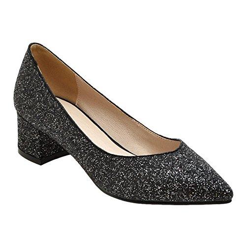 Mee Talons Sexy et Noir Blocs Talons à Pointus Femmes Escarpins Shoes XS0qWZrRX