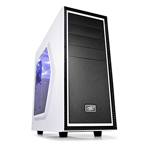 DEEPCOOL TESSERACT SW WH Computer Gaming PC Case Blue LED Fans Side Window Standard ATX chassis