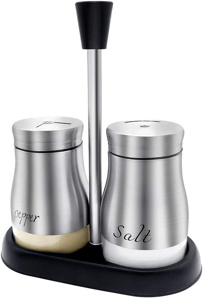 FWIEXA Salt and Pepper Shakers with Tray, Stainless Steel with Glass Bottle (Set of 2), Spice Dispenser with Pour Holes, Salt and Pepper Shakers Set for Kitchen