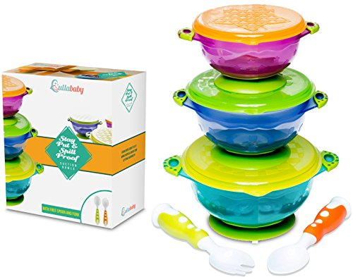 STAY PUT SUCTION BABY BOWLS - Suction Toddler Spill Proof Feeding Set | Bonus Spoon and Fork | 3 Sizes of Bowls and Snap Tight Lids | Perfect To Go Storage | FDA Approved BPA Free Toddler Dish