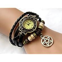 Supernatural Amulet Wrist Watch Black Leather Wrist Watch with Silvery Pentagram Charm Bracelet
