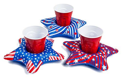 BigMouth Inc. Inflatable Patriotic Star Pool Cupholder Floats, 3-Pack Includes Variety of Red, White and Blue Decorated Star Drink Floats