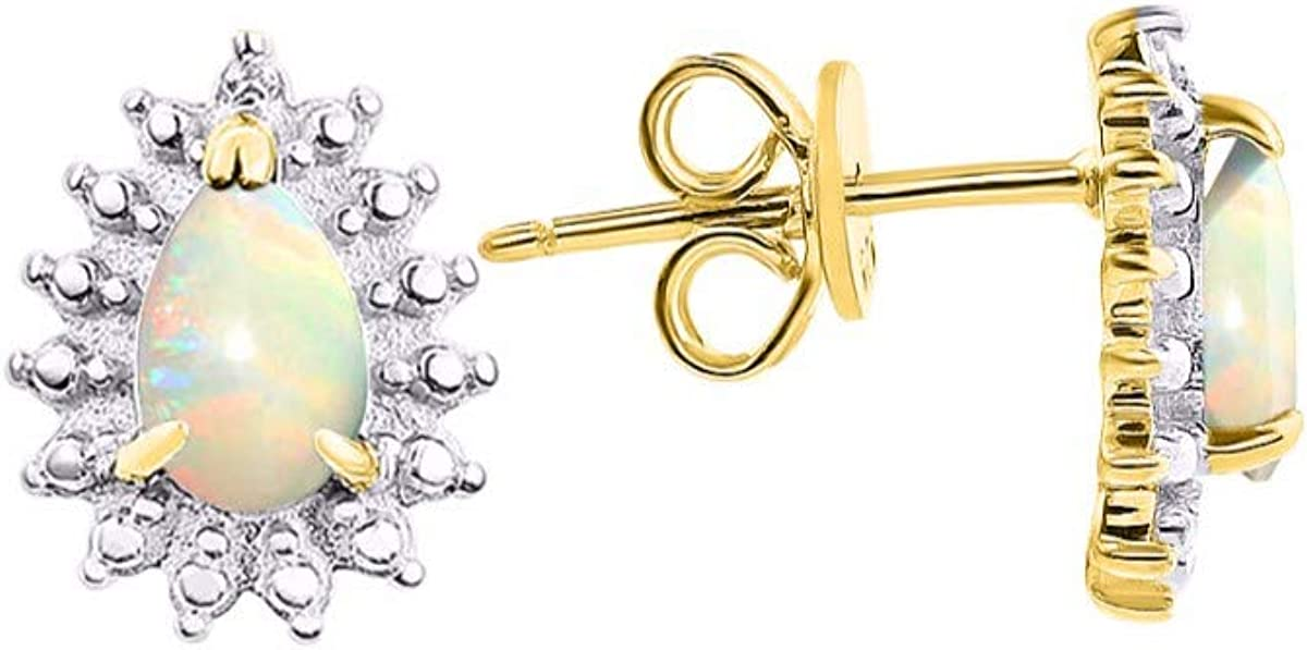 RYLOS Pendientes de piedra de nacimiento y diamantes brillantes genuinos en plata de ley o plata chapada en oro amarillo.