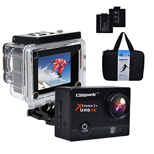 Campark® 4K 30fps WiFi Ultra HD Waterproof Sports Action Camera,SONY Sensor,Time Lapse,Slow Motion, TWO Batteries Included