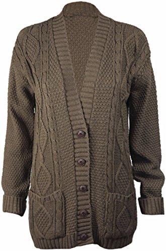 PurpleHanger Women's Long Sleeves Button Knit Sweater Cardigan Top Plus Size Mocha 16-18