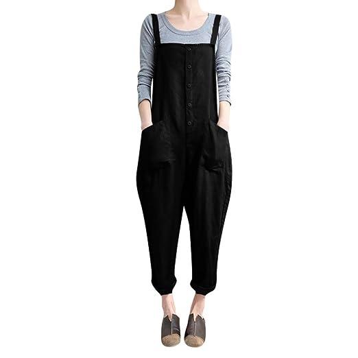 e7ead4c7bae2 SCSAlgin blouse Women Sleeveless Button Jumpsuits Overalls Harem Long Pants  Trousers Playsuits (Black