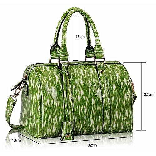 TrendStar - Bolso bandolera Mujer Green Barrel Handbag