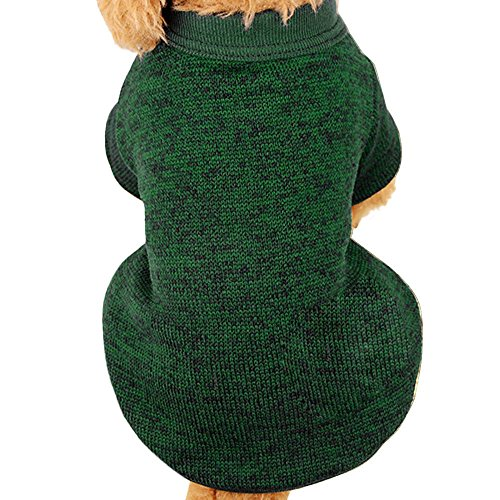 Farjing Pet Dog Sweater,Warm Puppy Sweater Fleece Sweater Clothes (S,Army Green]()