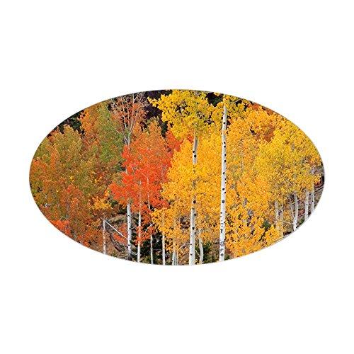 CafePress Autumn Aspen Trees - Oval Bumper Sticker, Euro Oval Car Decal