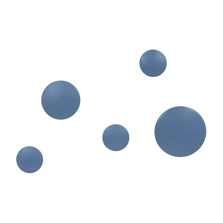 Vaukura Percheros de Pared Dots - Percheros de Madera (Azul)