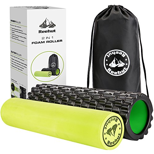 18' Foam (Reehut 2-in-1 Foam Roller Trigger Point massage for Painful, Tight muscles + Smooth Rollers for Rehabilitation! FREE USER E-BOOK + FREE CARRY CASE (18'' x 5.5''))