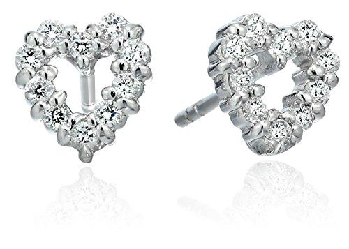 Roberto Coin Tiny Treasures Diamond Open Heart Stud Earrings