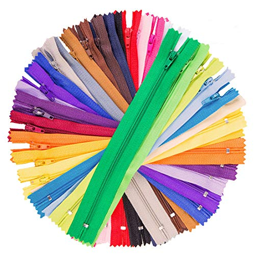100Pcs 9 Inch Nylon Coil Zippers Tailor Sewer Bulk for Sewing Crafts (25 Colors) ()