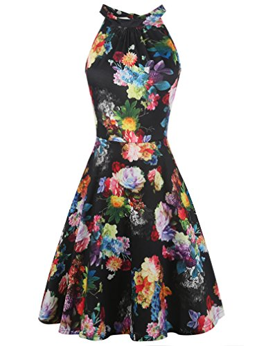 oxiuly Women's Chic Sleeveless Halter Neck Floral Patchwork Casual Cocktail Party Swing Summer Dress OX258 (M, Black Rose) ()