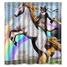 Personalized Funny Unicorn and cat Shower Curtain, Shower Rings Included 100% Polyester Waterproof 66 x 72 by Funny Unicorn Shower Curtain