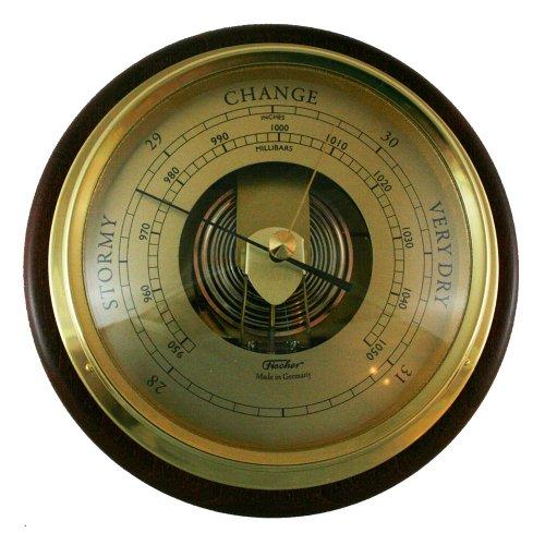 Mahogany Barometer (Fischer Instruments 1434B-22-B Mahogany Wood and Brass Marine Barometer)