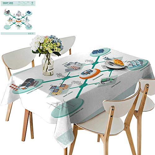 UHOO2018 Fitted Polyester Tablecloth  Gri Network Power supplay Renewable Resources infographi Square/Rectangle Washable for Tablecloth,52 x 298inch