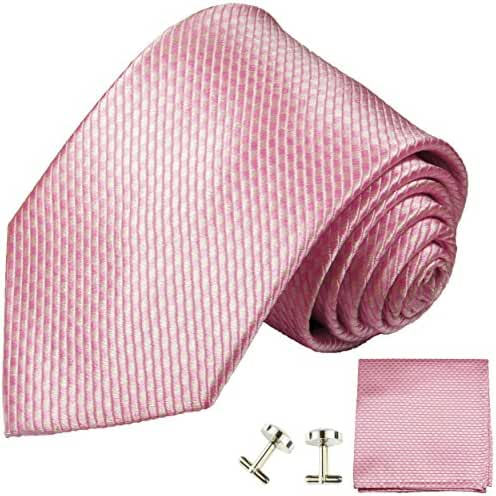Paul Malone Necktie, Pocket Square and Cufflinks 100% criss cross pink with light and dark pink