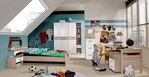 Jugendzimmer 6-tlg. in Eiche sägerau/Alpinweiß-Dekor, 2-trg. Schrank, Regalschrank, Bett 140x200 cm, Nachtschrank, Schreibtisch, Rollcontainer