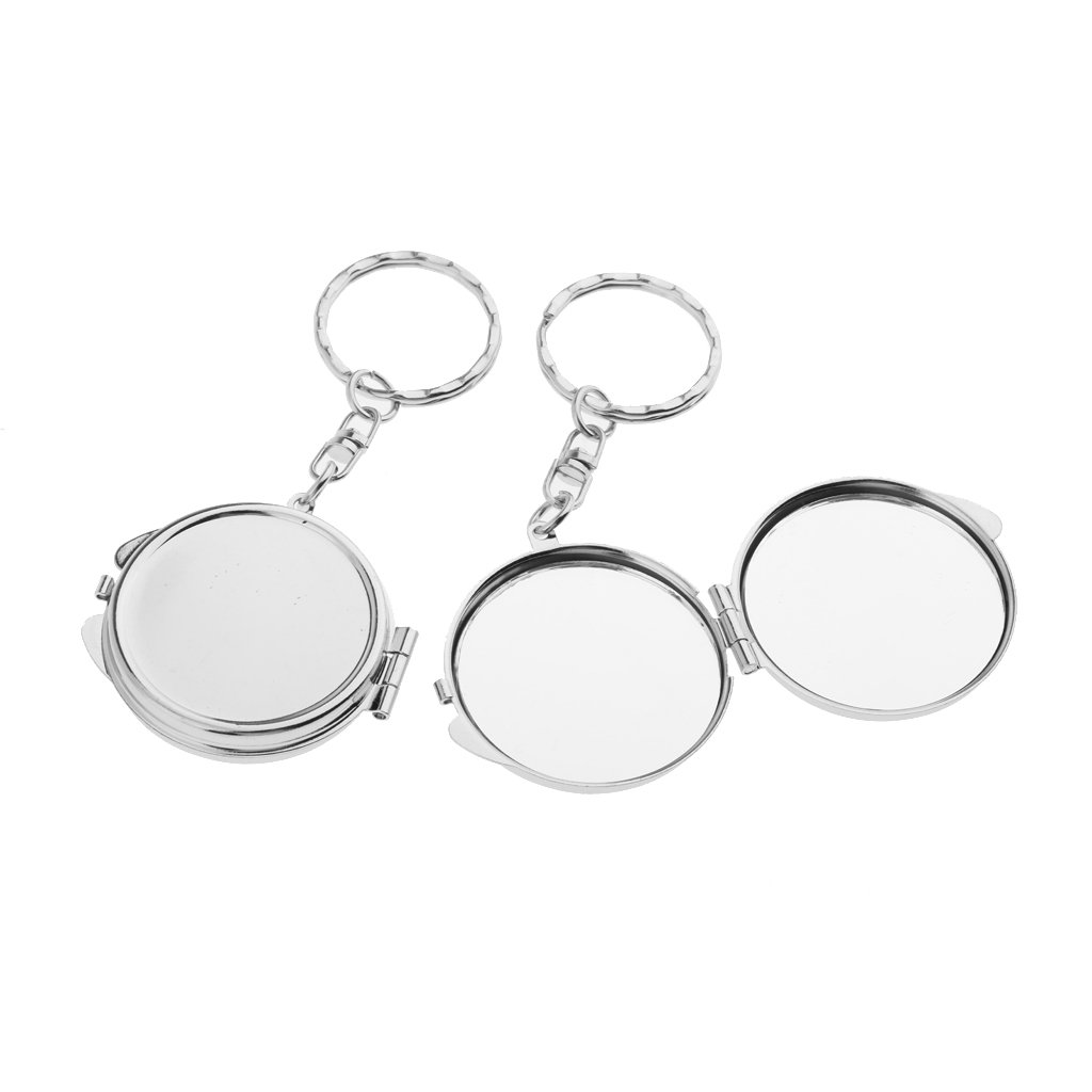 perfk 2x Porte-clé Miroir de Poche Portable - Miroir Cosmétique Pliable pour Femme / Fille à Maquillage - A