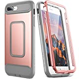 : iPhone 8 Plus Case, iPhone 7 Plus Case, YOUMAKER Full Body Shockproof Case With Built-in Screen Protector Heavy Duty Protection for Apple iPhone 8 Plus 2017/iPhone 7 Plus 2016 5.5 inch -Rose Gold/Gray