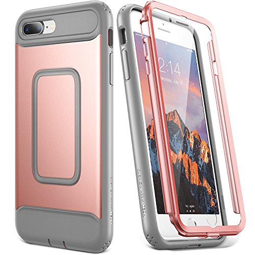 YOUMAKER Case for iPhone 8 Plus & iPhone 7 Plus, Rose Gold Full Body with Built-in Screen Protector Heavy Duty Protection Shockproof Slim Fit Cover for Apple iPhone 8 Plus (2017) 5.5 Inch - RG/Grey