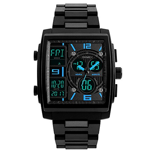 Men S Digital Analog Sport Wristwatch Abs Case Triple Time Display Calendar Alarm 50M Waterproof  Blue