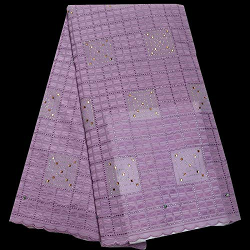 HEEGNPD Rhinestones Fixed Swiss Voile lace Fabric Elegant Pink African Cotton lace Fabric for Party Dress,9