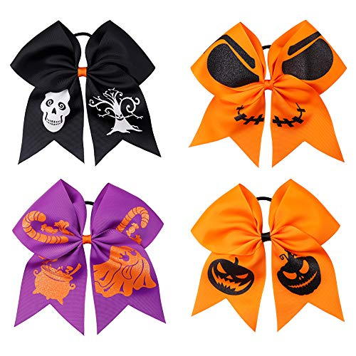 Baby Girls Large Cheerleader Hair Bow- Subesty 7 Inch Boutique Halloween Hair Bow With Ponytail Holder for Cheerleading Girl Pack of 4 -