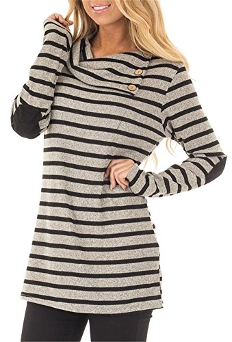 ETCYY Women's Long Sleeve Striped Button Cowl Neck Tunic Sweatshirts Tops,Gray,Large ()