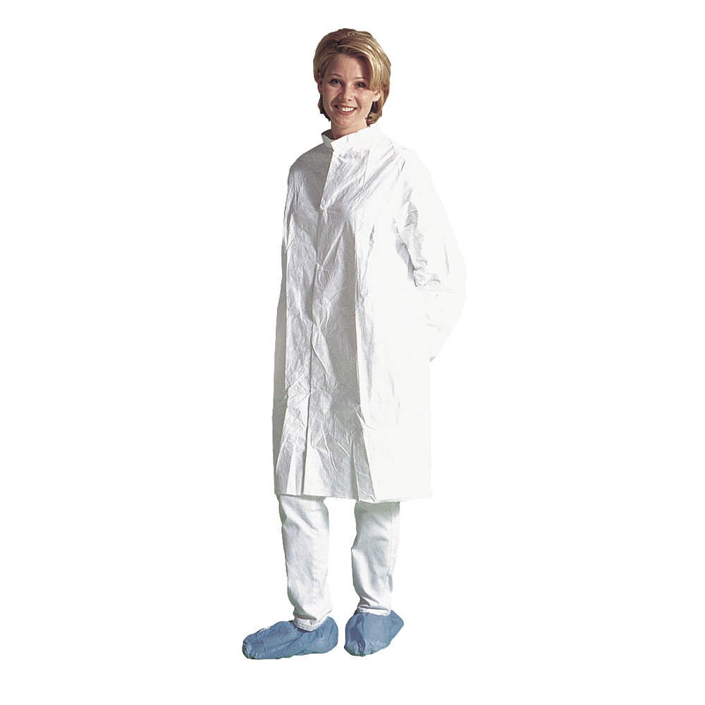 Clean and Sterile XL Dupont IC270BWHXL0030CS Tyvek IsoClean Frock DuPont USA 1227B44CS White Pack of 30