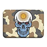 Argentina Flag Skull Indoor Outdoor Entrance Rug Non Slip Bath Rugs Doormat Rugs Home