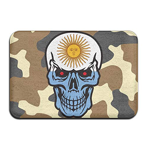 Argentina Flag Skull Indoor Outdoor Entrance Rug Non Slip Bath Rugs Doormat Rugs Home by HONMAt-Non
