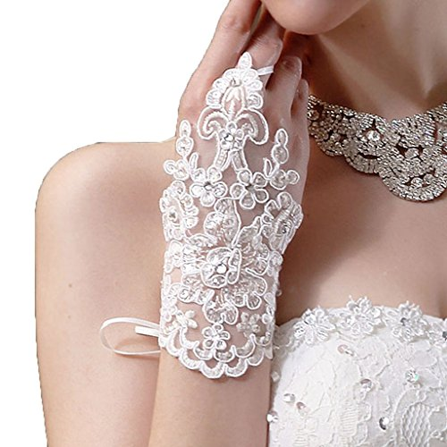Gloves, Hatop Bride Wedding Party Dress Fingerless Rhinestone Lace Satin Bridal Gloves (White)