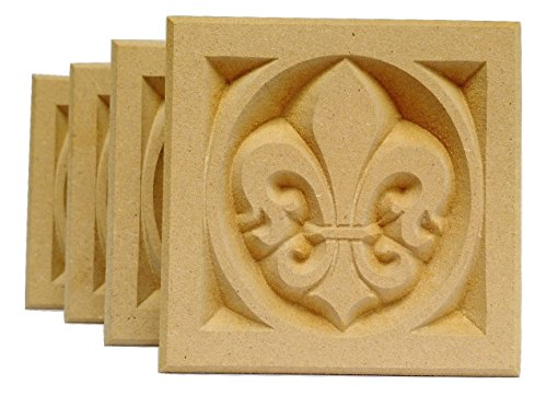 SET OF 4: Carved Fleur de Lis Rosette Blocks, Made in USA (3.5