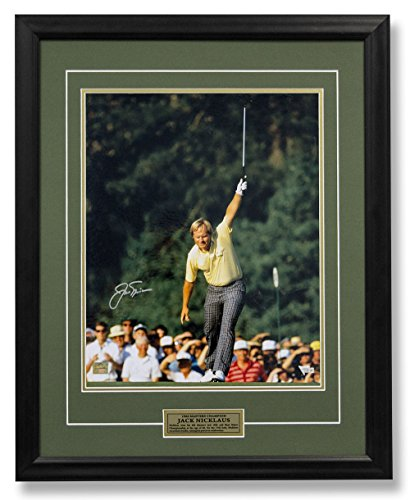 Jack Nicklaus Autographed 1986 Masters Golf Champion 17th Birdie 25x31 Frame