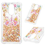 LG Stylo 4 Case, LG Q Stylus Clear Liquid Glitter Case Kawaii Painting Bling Shiny Sparkle Shimmer Flowing Moving Hearts Shock Absorption TPU Bumper Drop Resistant Ultral Slim TPU Cover for LG Stylo 4