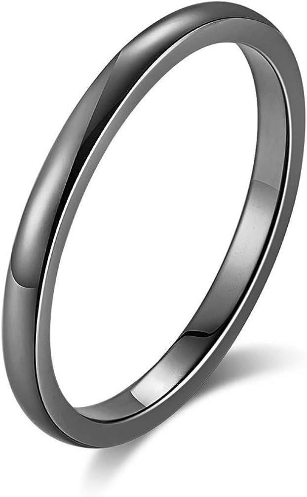 Y-YING 2mm サージカルステンレス リング 指輪 結婚指輪 レディースリング ステンレスリング メンズリング ペアリングに 24号 色・ブラック