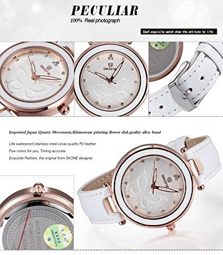 AStarsport Womens Girls Butterfly Rhinestone Scale Watches Analog Quartz Leather Watch Male Casual Wristwatch Black by AStarsport (Image #4)