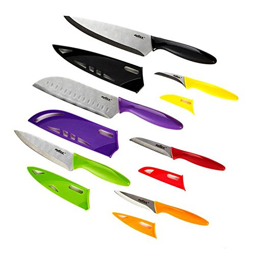 - ZYLISS 6 Piece Kitchen Knife Set with Sheath Covers, Stainless Steel