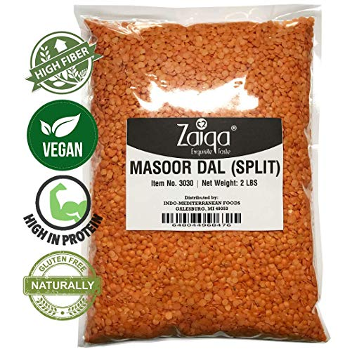 Red Split Lentils or Masoor Dal Make Vegan Soups Pastas Stews Salad and Indian Curry Dishes | Excellent Source of Nutrition | Pacific Northwest Grown  2 LBS