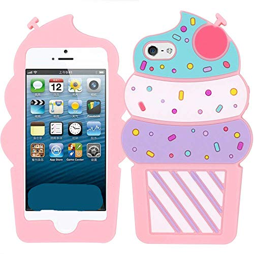 Joyleop Ice Cream Case for iPhone 5 5C 5S SE 5G,Cute 3D Cartoon Animal Cover,Kids Girls Lady Cool Fun Soft Silicone Gel Rubber Kawaii Character Unique Cases,Fashion Shell Skin Protector for iPhone5]()