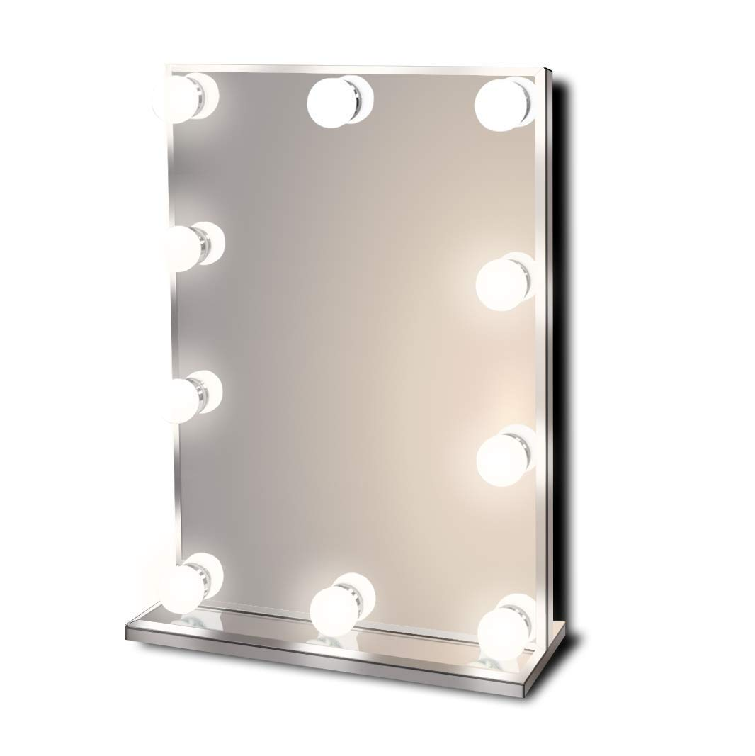 Hollywood Lighted Vanity Makeup Mirror with Bright LED Lights, Light-up Frameless Dressing Table Cosmetic Mirror with 10 Dimmable Bulbs, Multiple Color Modes, Table-Top or Wall Mount, Standard