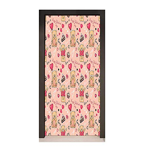 (Homesonne Valentines Decor Door Mural Cute Teddy Bears Celebrating Your Happy Love Valentines Day Cake Balloons for Office Decoration Coral Brown Peach,W17.1xH78.7)